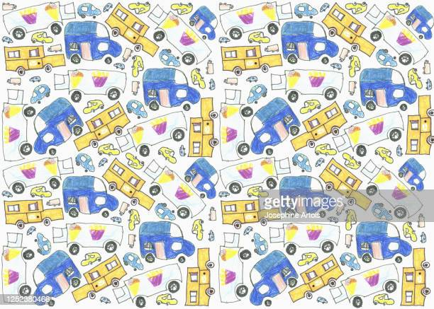 childs drawing delivery truck pattern on white background - design element stock illustrations
