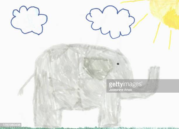 childs drawing gray elephant - standing stock illustrations