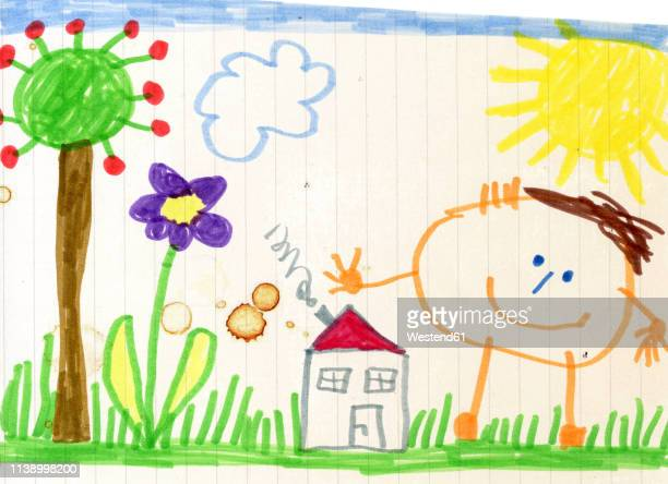 child's drawing, happy child, house and garden - child's drawing stock illustrations