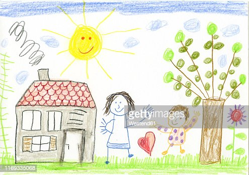 Childs Drawing Happy Mother And Child In Garden High Res Vector Graphic Getty Images