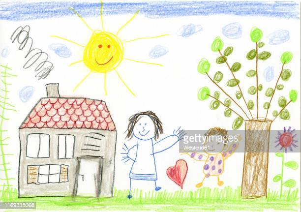 child's drawing, happy mother and child in garden - artistic product stock illustrations