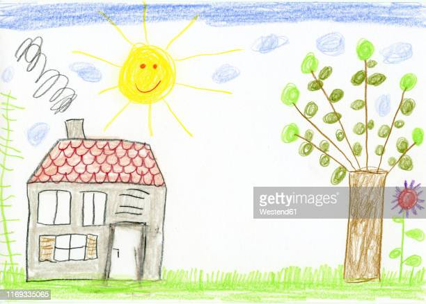 child's drawing, house and garden - tranquil scene stock illustrations