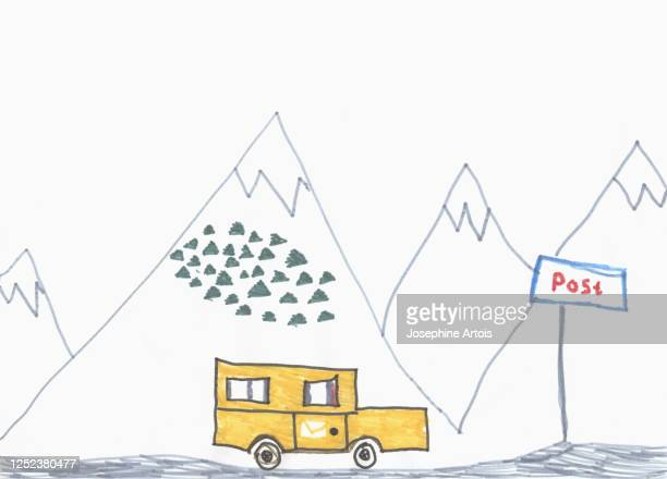childs drawing mail truck driving below mountains - design element stock illustrations