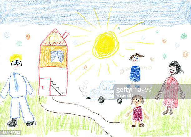 child's drawing, mixed-race family with house and car - land vehicle stock illustrations