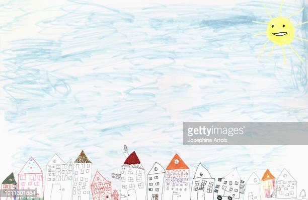 childs drawing of anthropomorphic sun shining over houses - housing development stock illustrations