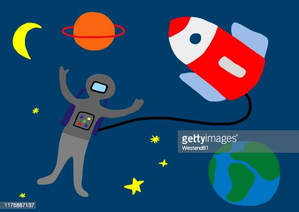 child's drawing of astronaut with rocket in space - sensory perception stock illustrations