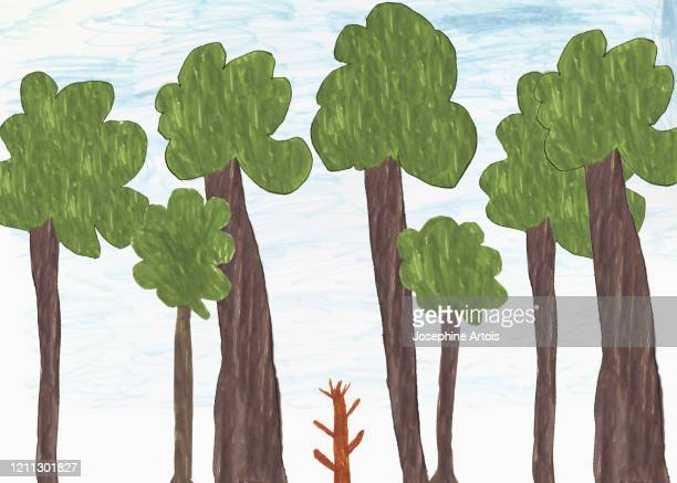 childs drawing of big and small trees - growth stock illustrations