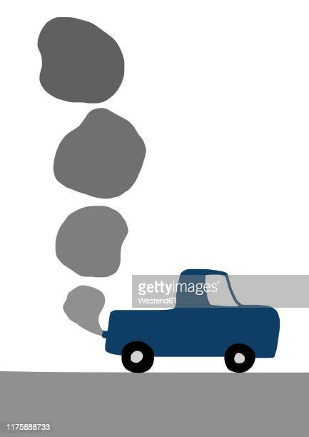 child's drawing of car emitting exhaust - traffic stock illustrations