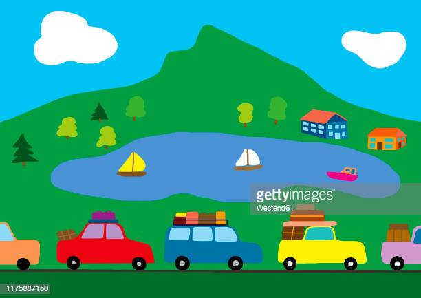 child's drawing of cars in a traffic jam on the way to holidays - journey stock illustrations