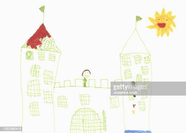 childs drawing of castle - male likeness stock illustrations