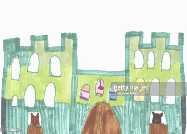 childs drawing of castle - female likeness stock illustrations