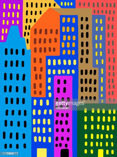 child's drawing of colorful skyscrapers in the city - vertical stock illustrations