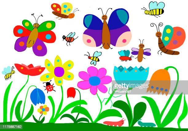 illustrations, cliparts, dessins animés et icônes de child's drawing of insects on flower meadow - coccinelle