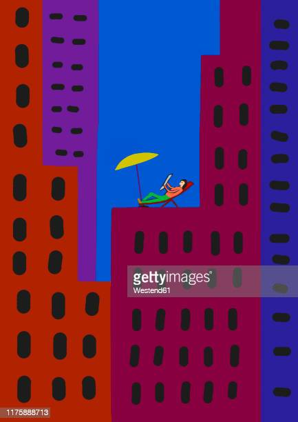 child's drawing of relaxed person on deckchair amidst colorful skyscrapers in the city - message stock illustrations