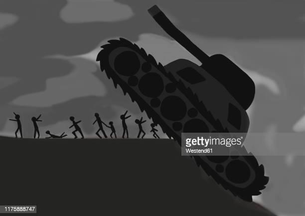 ilustraciones, imágenes clip art, dibujos animados e iconos de stock de child's drawing of tank threatening group of people - maltrato infantil