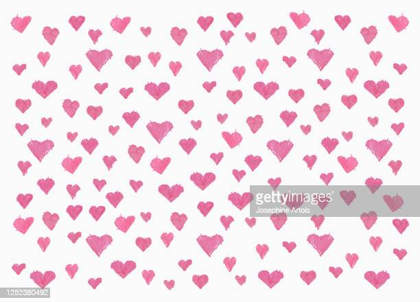 childs drawing pink heart pattern on white background - pattern stock illustrations