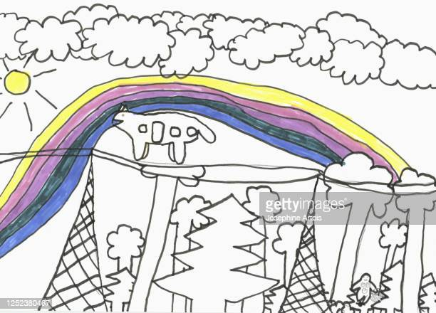 childs drawing rainbow and trees - design element stock illustrations