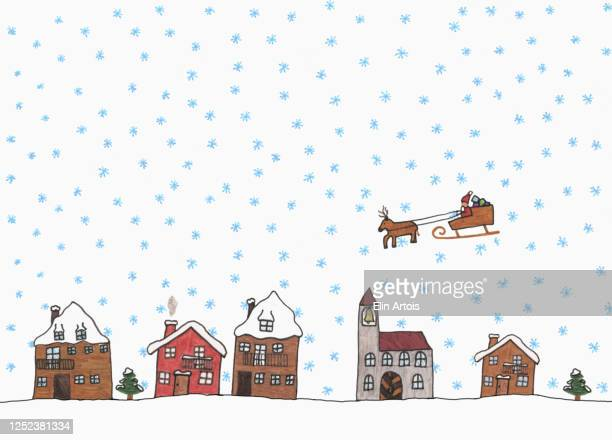 childs drawing santa claus in sleigh above snowy town - human representation stock illustrations