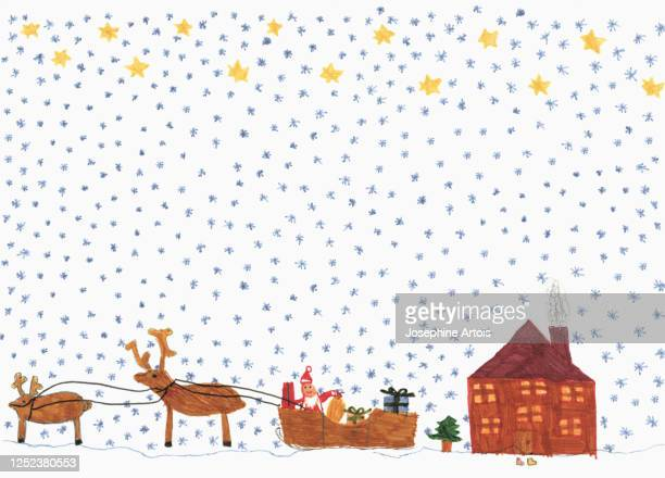 childs drawing santa claus in sleigh with reindeer delivering presents - design element stock illustrations