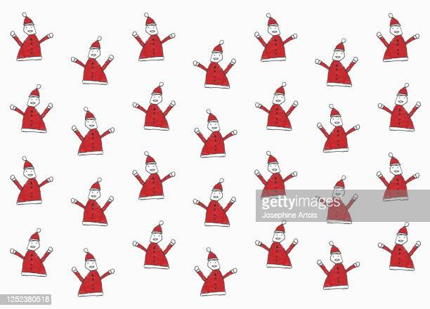 childs drawing santa claus pattern on white background - male likeness stock illustrations