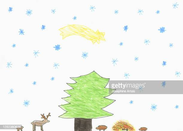 childs drawing shooting start over tree and forest animals - design element stock illustrations