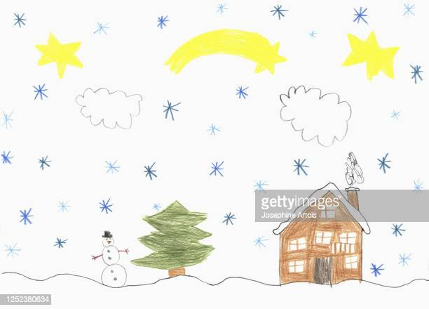 childs drawing snow falling over house and snowman - design element stock illustrations
