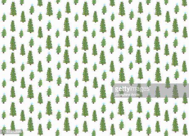 childs drawing tiny green christmas trees on white background - simplicity stock illustrations