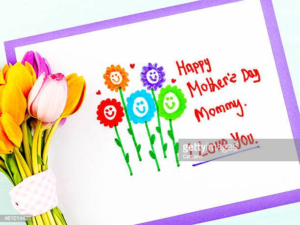 child's mother's day drawing with flowers - mothers day text art stock illustrations