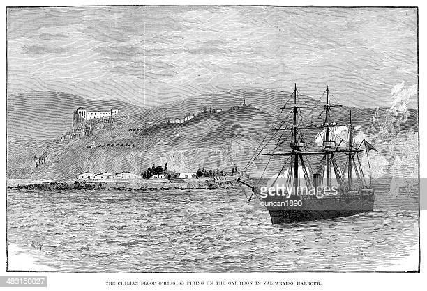 chilean civil war of 1891 - us navy stock illustrations
