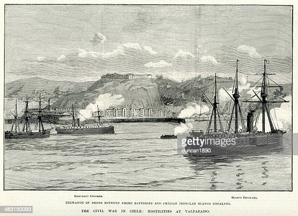 chilean civil war of 1891 - us navy stock illustrations, clip art, cartoons, & icons