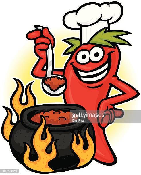 ilustrações de stock, clip art, desenhos animados e ícones de chili chefe de cozinha - pimenta