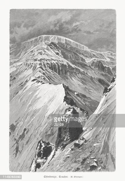 chimborazo, highest mountain in ecuador, wood engraving, published 1897 - stratovolcano stock illustrations, clip art, cartoons, & icons