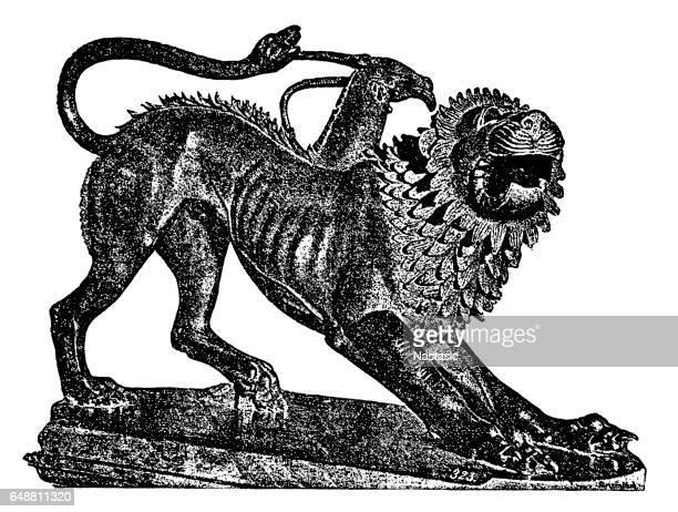 chimera - etruscan stock illustrations