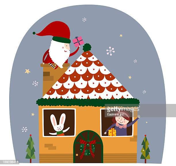 illustrations, cliparts, dessins animés et icônes de chimney in the santa - marteaudeporte