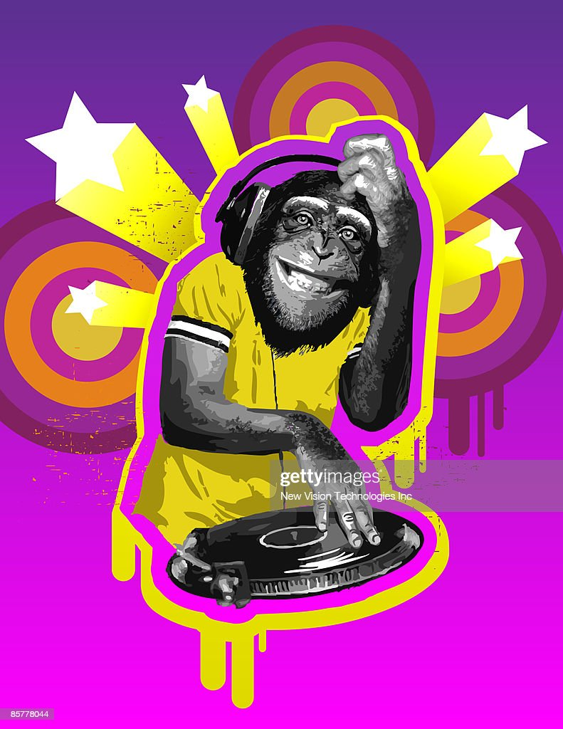 Chimpanzee DJ : stock illustration