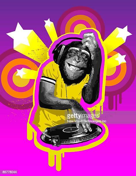 stockillustraties, clipart, cartoons en iconen met chimpanzee dj - chimpanzee