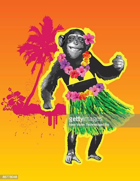 stockillustraties, clipart, cartoons en iconen met chimpanzee hula dancing - chimpanzee
