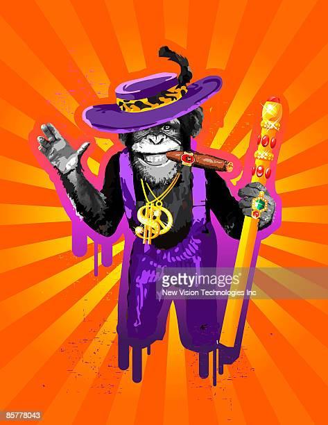 chimpanzee in pimp costume, smoking cigar - chimpanzee stock illustrations, clip art, cartoons, & icons