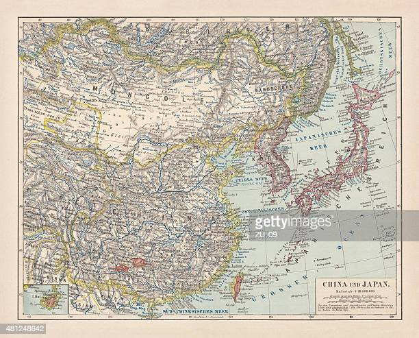 china and japan, lithograph, published in 1881 - sea of japan or east sea stock illustrations, clip art, cartoons, & icons