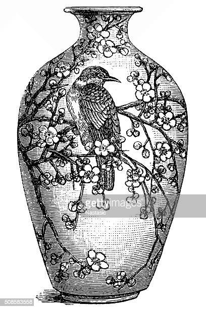 china antique vase - ceramics stock illustrations, clip art, cartoons, & icons