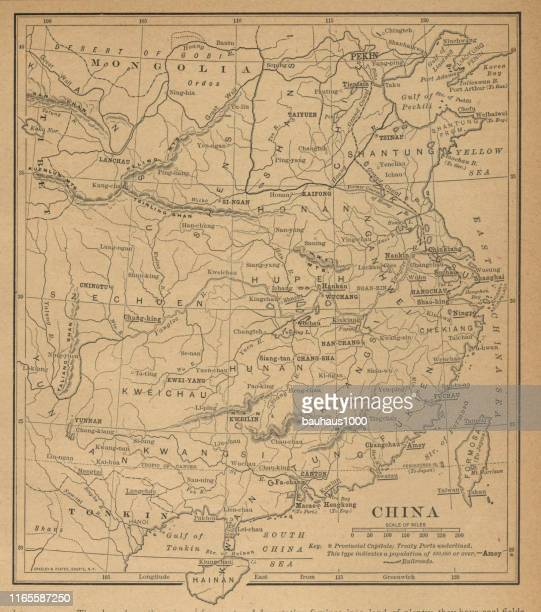china antique victorian engraved colored map, 1899 - graphic print stock illustrations