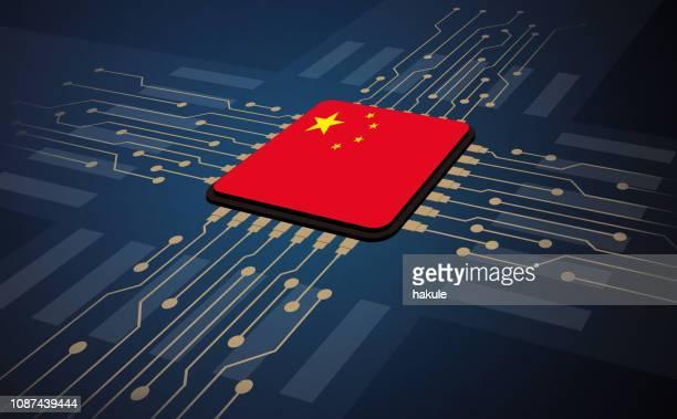 china-flagge in der mitte der platine, künstliche intelligenz der digitale illustration - china stock-grafiken, -clipart, -cartoons und -symbole
