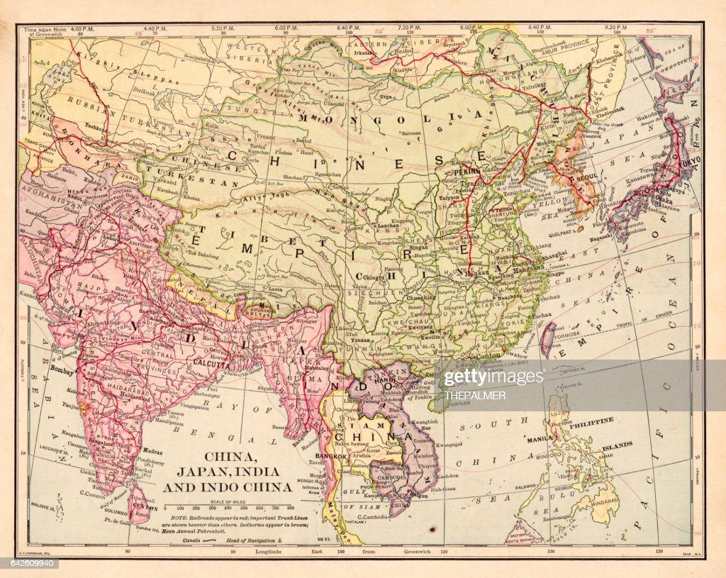 china japan indochina map 1898 stock illustration