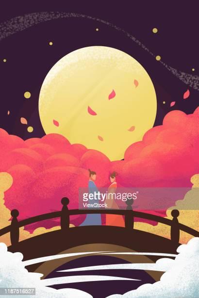 bildbanksillustrationer, clip art samt tecknat material och ikoner med china's chinese valentine's day - european magpie
