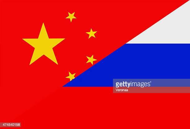 chinesische und russische flagge - russland stock-grafiken, -clipart, -cartoons und -symbole