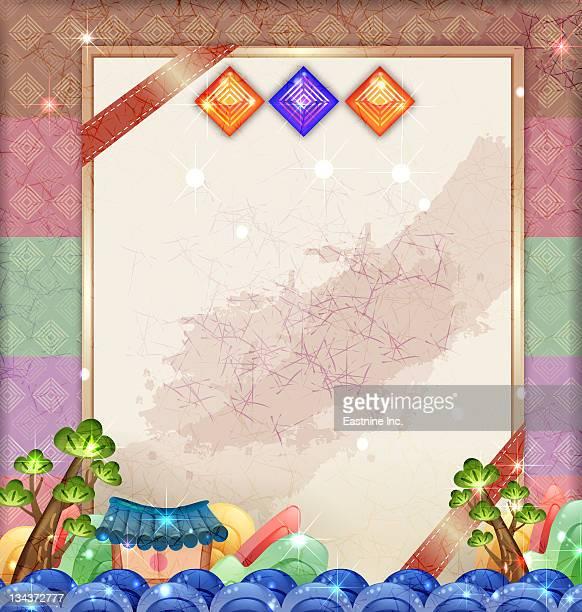 ilustraciones, imágenes clip art, dibujos animados e iconos de stock de chinese card with traditional element of china - cultura coreana