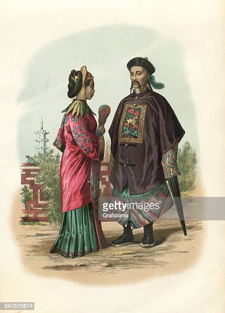 chinese couple in traditional clothing 1880 - actress stock illustrations