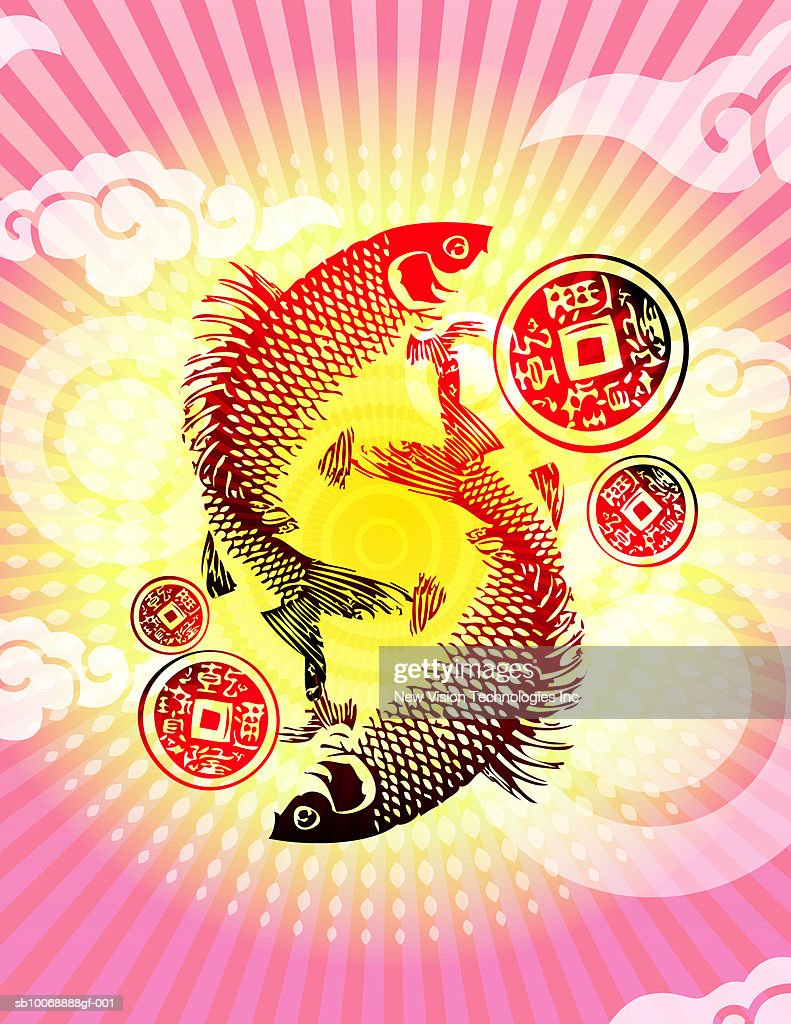 Chinese coy fish with good luck coins stock illustration getty images chinese coy fish with good luck coins stock illustration buycottarizona Gallery