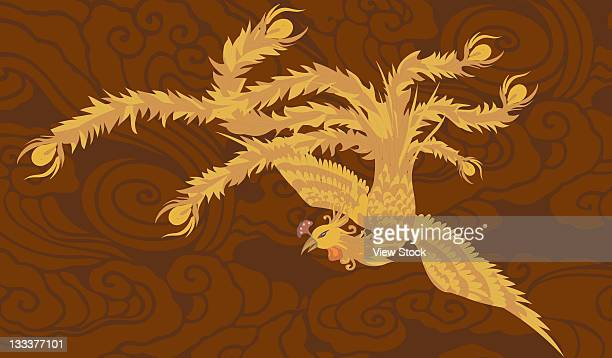 chinese culture,illustration - phoenix mythical bird stock illustrations, clip art, cartoons, & icons