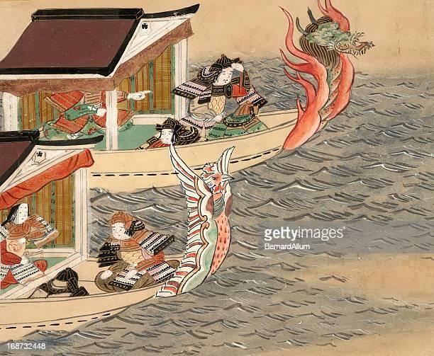 ilustrações, clipart, desenhos animados e ícones de barcos dragão chinês - mt. fuji